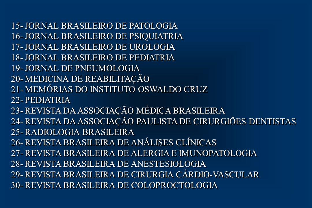 31- REVISTA BRASILEIRA DE CANCEROLOGIA 32- REVISTA BRASILEIRA DE GINECOLOGIA E OBSTETRÍCIA 33- REVISTA BRASILEIRA DE ODONTOLOGIA 34- REVISTA DO COLÉGIO BRASILEIRO DE CIRURGIÕES 35- REVISTA DO INSTITUTO DE MEDICINA TROPICAL DE S.P.