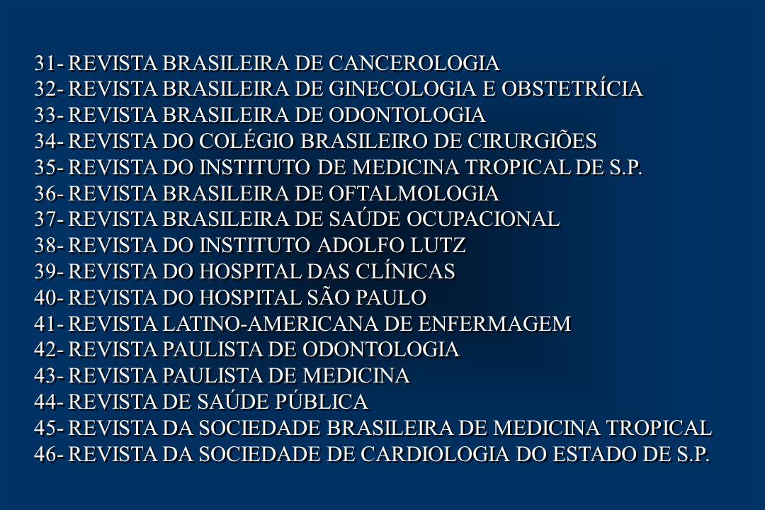 31- REVISTA BRASILEIRA DE CANCEROLOGIA 32- REVISTA BRASILEIRA DE GINECOLOGIA E OBSTETRÍCIA 33- REVISTA BRASILEIRA DE ODONTOLOGIA 34- REVISTA DO COLÉGI
