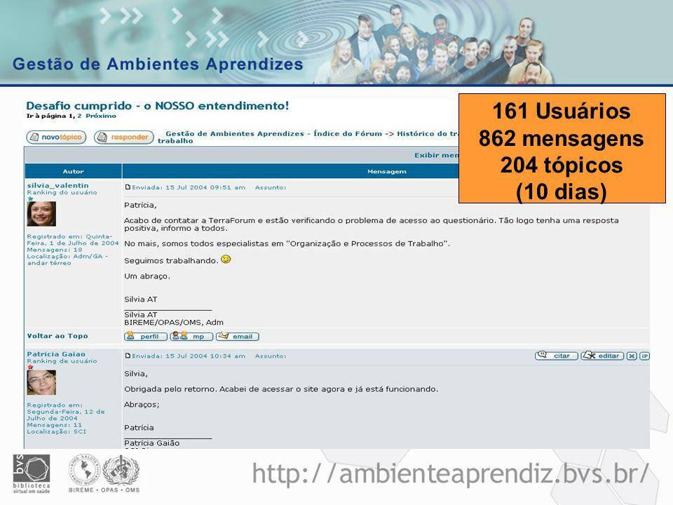 161 Usuários 862 mensagens 204 tópicos (10 dias)