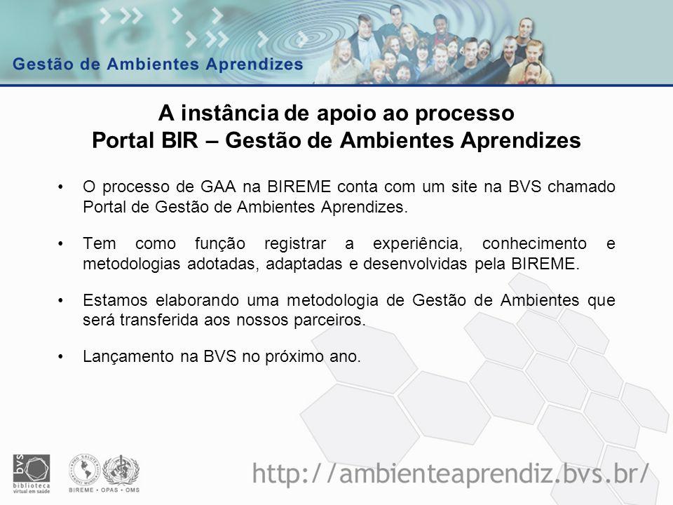 A instância de apoio ao processo Portal BIR – Gestão de Ambientes Aprendizes O processo de GAA na BIREME conta com um site na BVS chamado Portal de Ge
