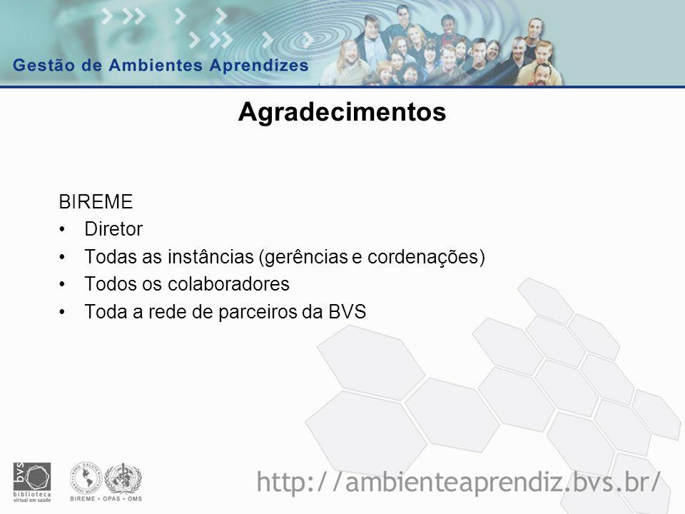 Agradecimentos BIREME Diretor Todas as instâncias (gerências e cordenações) Todos os colaboradores Toda a rede de parceiros da BVS