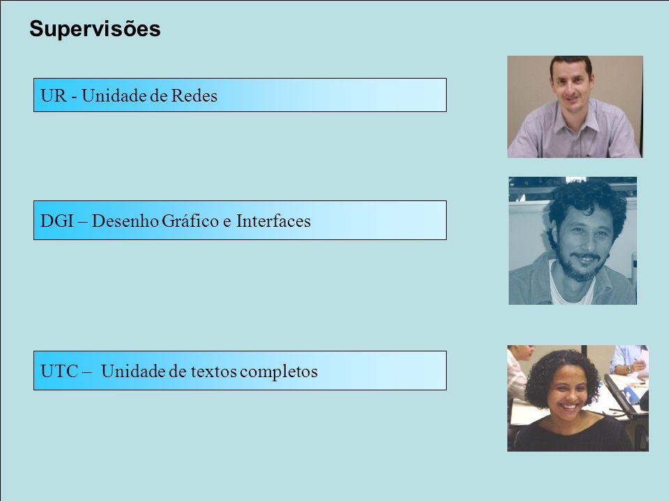 Supervisões UR - Unidade de Redes UTC – Unidade de textos completos DGI – Desenho Gráfico e Interfaces