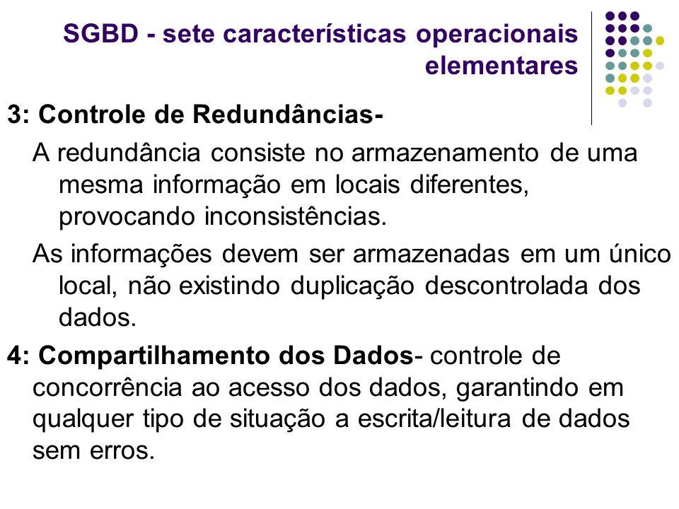 SGBD - sete características operacionais elementares 3: Controle de Redundâncias- A redundância consiste no armazenamento de uma mesma informação em l
