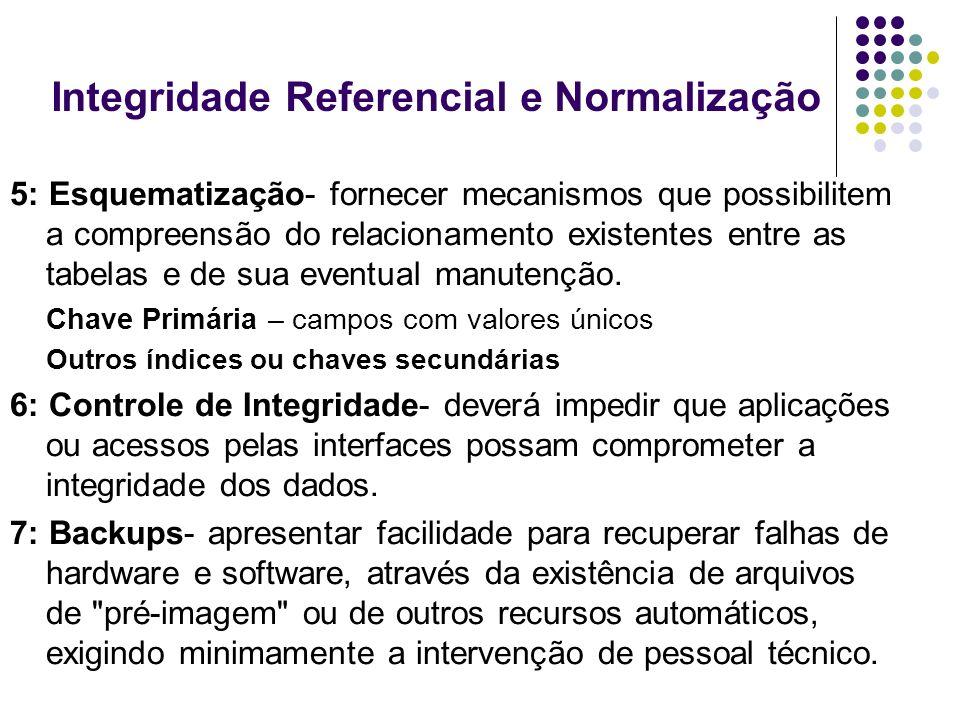 Integridade Referencial e Normalização 5: Esquematização- fornecer mecanismos que possibilitem a compreensão do relacionamento existentes entre as tab