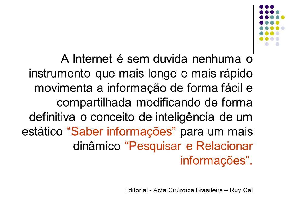 A Internet é sem duvida nenhuma o instrumento que mais longe e mais rápido movimenta a informação de forma fácil e compartilhada modificando de forma