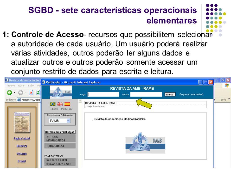SGBD - sete características operacionais elementares 1: Controle de Acesso- recursos que possibilitem selecionar a autoridade de cada usuário. Um usuá