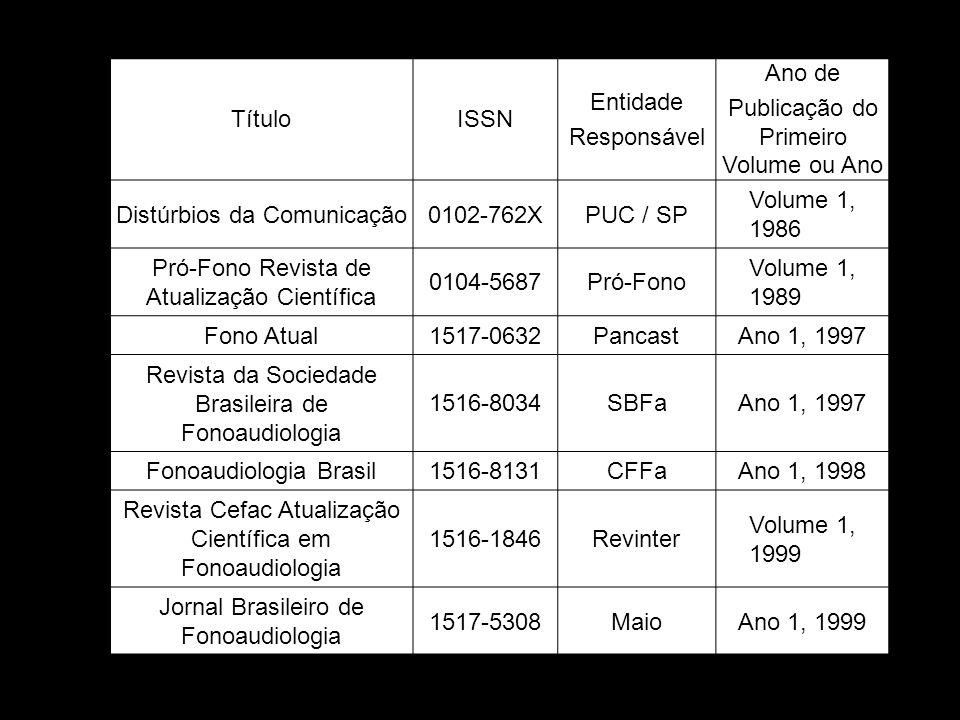 Periódicos Selecionados TítuloISSN Entidade Responsável Ano de Publicação do Primeiro Volume ou Ano Distúrbios da Comunicação0102-762XPUC / SP Volume 1, 1986 Pró-Fono Revista de Atualização Científica 0104-5687Pró-Fono Volume 1, 1989 Fono Atual1517-0632PancastAno 1, 1997 Revista da Sociedade Brasileira de Fonoaudiologia 1516-8034SBFaAno 1, 1997 Fonoaudiologia Brasil1516-8131CFFaAno 1, 1998 Revista Cefac Atualização Científica em Fonoaudiologia 1516-1846Revinter Volume 1, 1999 Jornal Brasileiro de Fonoaudiologia 1517-5308MaioAno 1, 1999