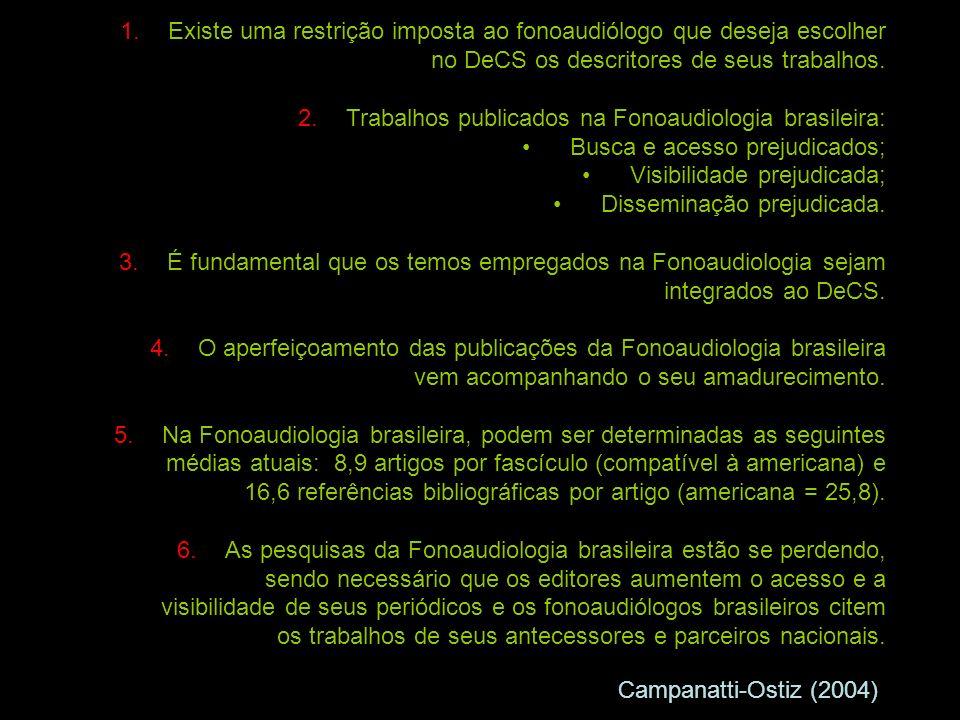 1.Existe uma restrição imposta ao fonoaudiólogo que deseja escolher no DeCS os descritores de seus trabalhos.
