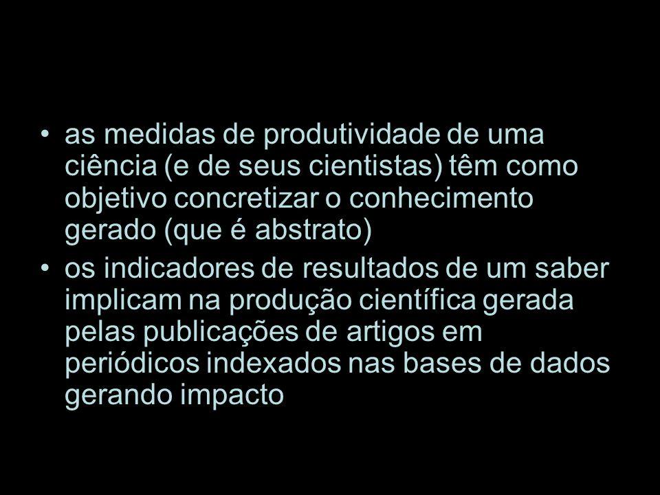 as medidas de produtividade de uma ciência (e de seus cientistas) têm como objetivo concretizar o conhecimento gerado (que é abstrato) os indicadores de resultados de um saber implicam na produção científica gerada pelas publicações de artigos em periódicos indexados nas bases de dados gerando impacto