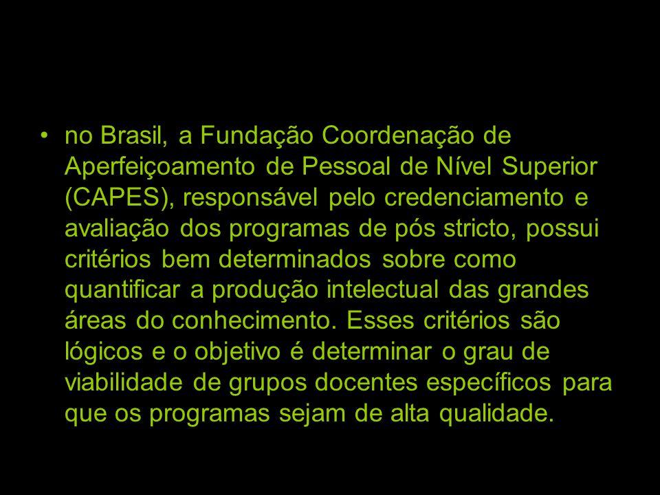 no Brasil, a Fundação Coordenação de Aperfeiçoamento de Pessoal de Nível Superior (CAPES), responsável pelo credenciamento e avaliação dos programas de pós stricto, possui critérios bem determinados sobre como quantificar a produção intelectual das grandes áreas do conhecimento.