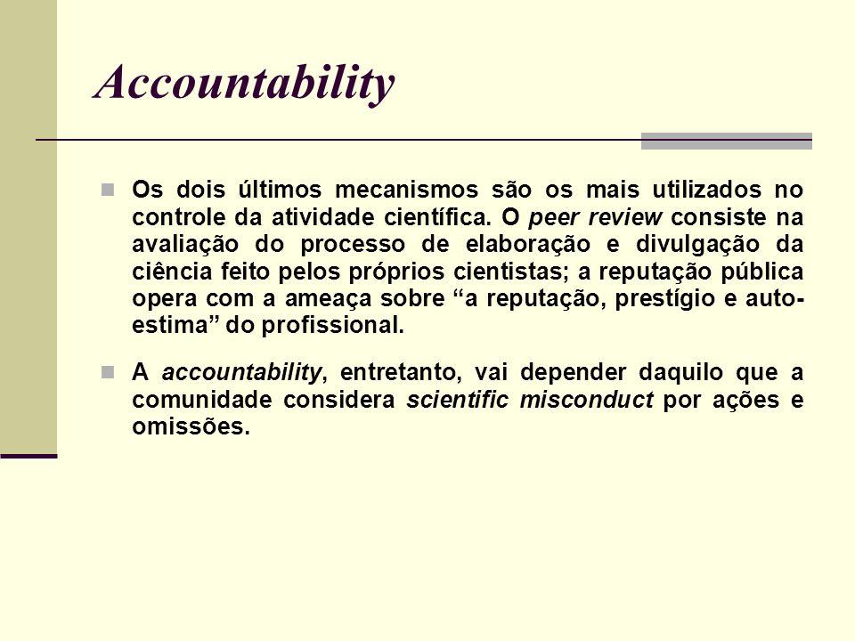 Accountability Os dois últimos mecanismos são os mais utilizados no controle da atividade científica. O peer review consiste na avaliação do processo