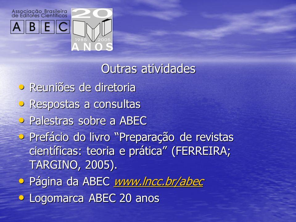 Outras atividades Reuniões de diretoria Reuniões de diretoria Respostas a consultas Respostas a consultas Palestras sobre a ABEC Palestras sobre a ABE