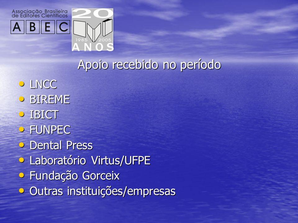 Apoio recebido no período LNCC LNCC BIREME BIREME IBICT IBICT FUNPEC FUNPEC Dental Press Dental Press Laboratório Virtus/UFPE Laboratório Virtus/UFPE
