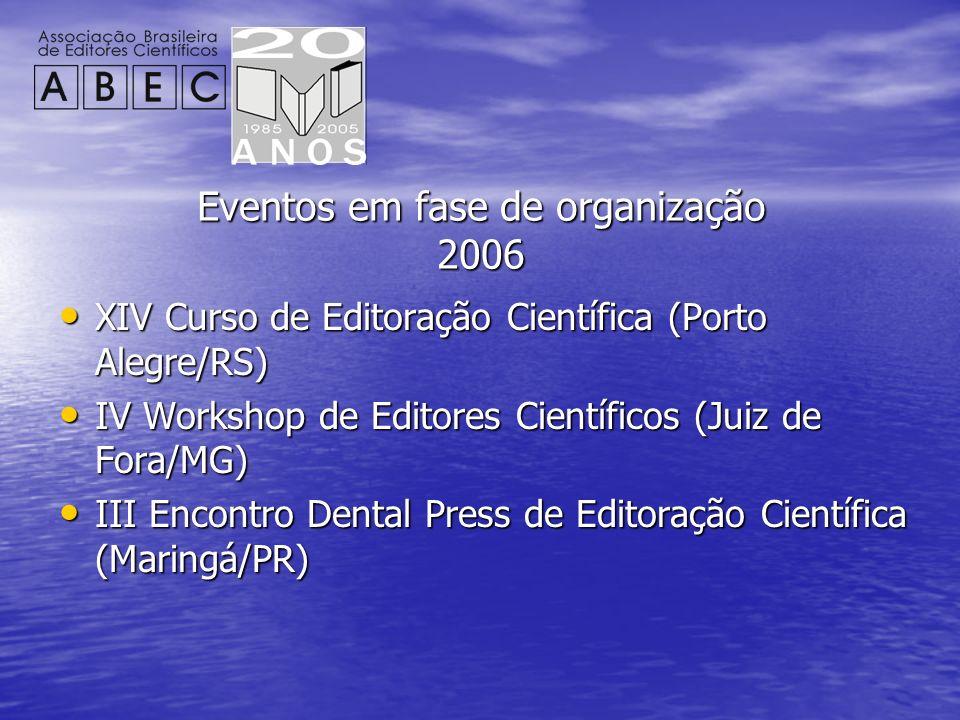 Eventos em fase de organização 2006 XIV Curso de Editoração Científica (Porto Alegre/RS) XIV Curso de Editoração Científica (Porto Alegre/RS) IV Works