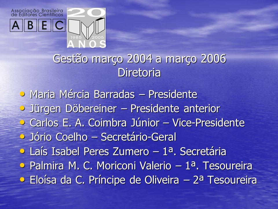Gestão março 2004 a março 2006 Diretoria Maria Mércia Barradas – Presidente Maria Mércia Barradas – Presidente Jürgen Döbereiner – Presidente anterior