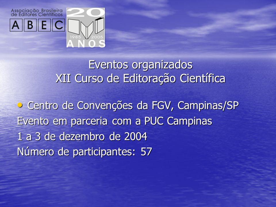 Eventos organizados XII Curso de Editoração Científica Centro de Convenções da FGV, Campinas/SP Centro de Convenções da FGV, Campinas/SP Evento em par