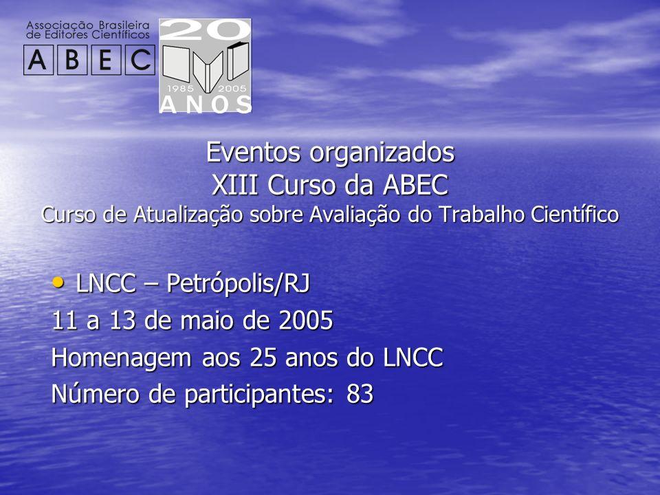 Eventos organizados XIII Curso da ABEC Curso de Atualização sobre Avaliação do Trabalho Científico LNCC – Petrópolis/RJ LNCC – Petrópolis/RJ 11 a 13 d