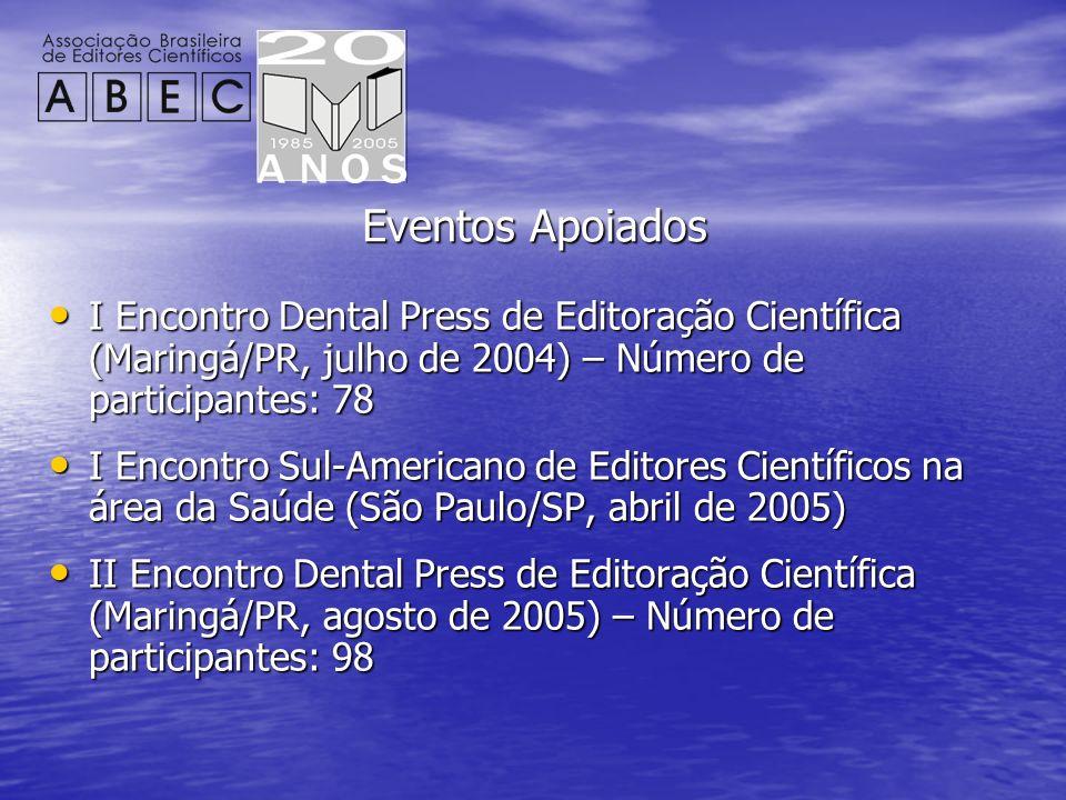 Eventos Apoiados I Encontro Dental Press de Editoração Científica (Maringá/PR, julho de 2004) – Número de participantes: 78 I Encontro Dental Press de