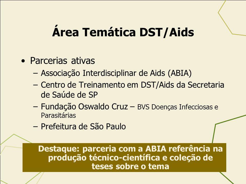 Área Temática DST/Aids Parcerias ativas –Associação Interdisciplinar de Aids (ABIA) –Centro de Treinamento em DST/Aids da Secretaria de Saúde de SP –F