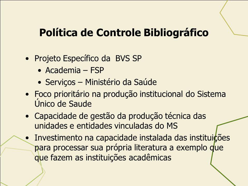 Política de Controle Bibliográfico Projeto Específico da BVS SP Academia – FSP Serviços – Ministério da Saúde Foco prioritário na produção institucion