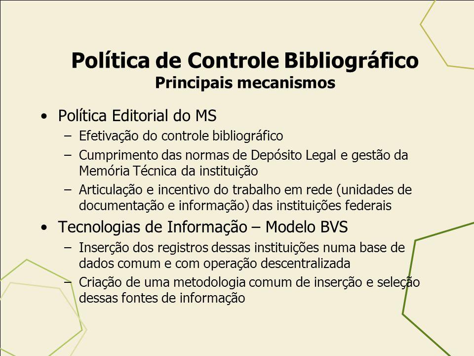 Política Editorial do MS –Efetivação do controle bibliográfico –Cumprimento das normas de Depósito Legal e gestão da Memória Técnica da instituição –A