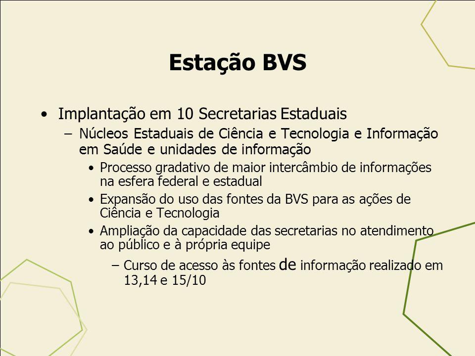 Estação BVS Implantação em 10 Secretarias Estaduais –Núcleos Estaduais de Ciência e Tecnologia e Informação em Saúde e unidades de informação Processo