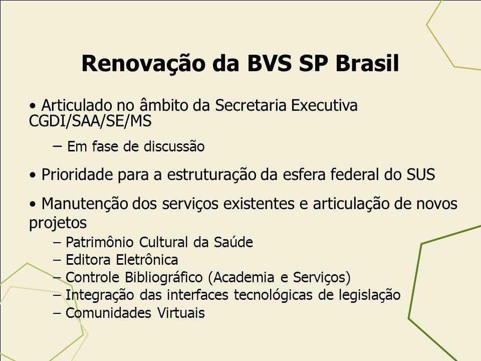 Renovação da BVS SP Brasil Articulado no âmbito da Secretaria Executiva CGDI/SAA/SE/MS – Em fase de discussão Prioridade para a estruturação da esfera