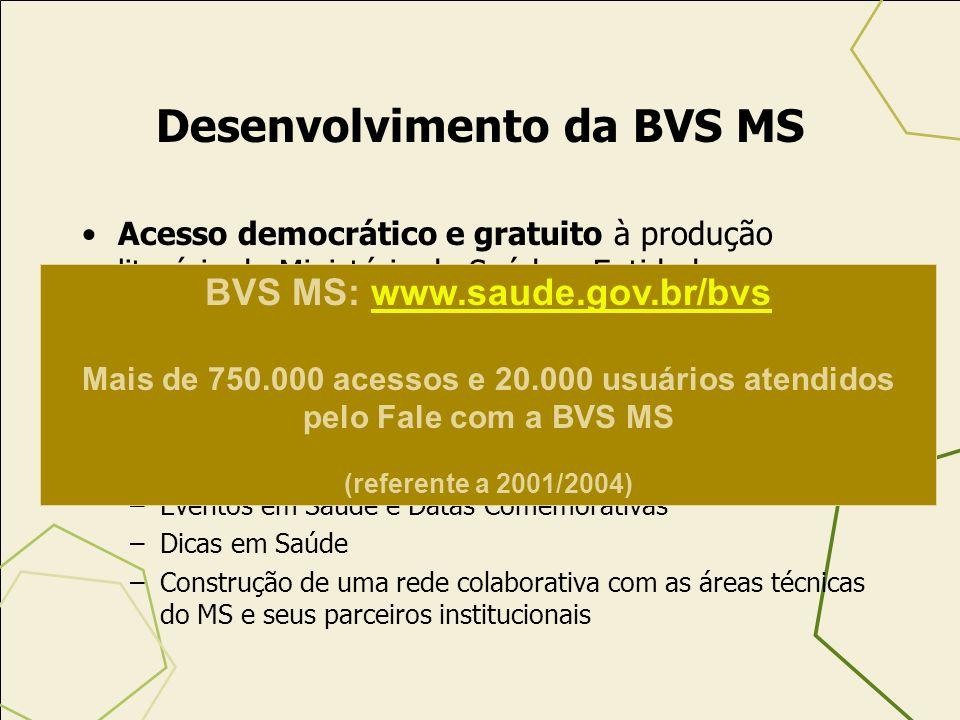 Principais Estratégias / Resultados –Regulamentação da Lei do Livro –Instituição da Política Nacional do Livro, Leitura e Bibliotecas –Elaboração do Plano Trienal da Leitura (2005/2007) e –Participação Brasileira no Ano Ibero-Americano da Leitura (2005) que contará com a presença do Senhor Presidente Luís Inácio Lula da Silva Brasília, 20/10 no Palácio do Planalto – Ministério da Saúde já confirmou sua presença (CGDI/SAA/SE) –Estação BVS –Desenvolvimento da BVS MS enquanto estratégia de INCLUSÃO SOCIAL / DIGITAL –Sistematização do envio de publicações paras as bibliotecas públicas Plano Nacional do Livro e da Leitura