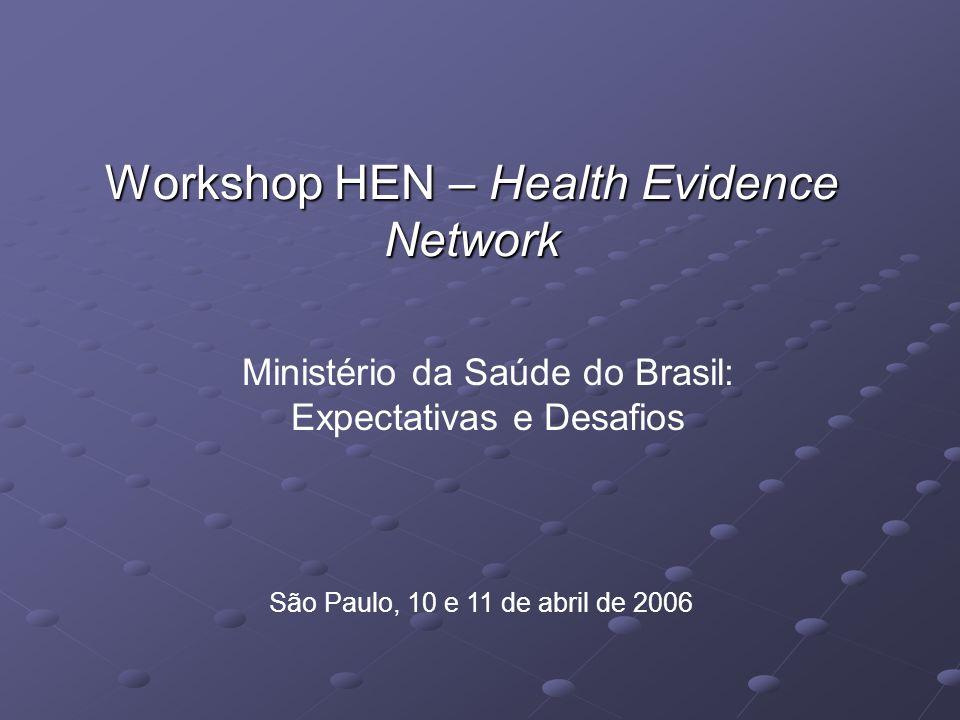 Workshop HEN – Health Evidence Network São Paulo, 10 e 11 de abril de 2006 Ministério da Saúde do Brasil: Expectativas e Desafios