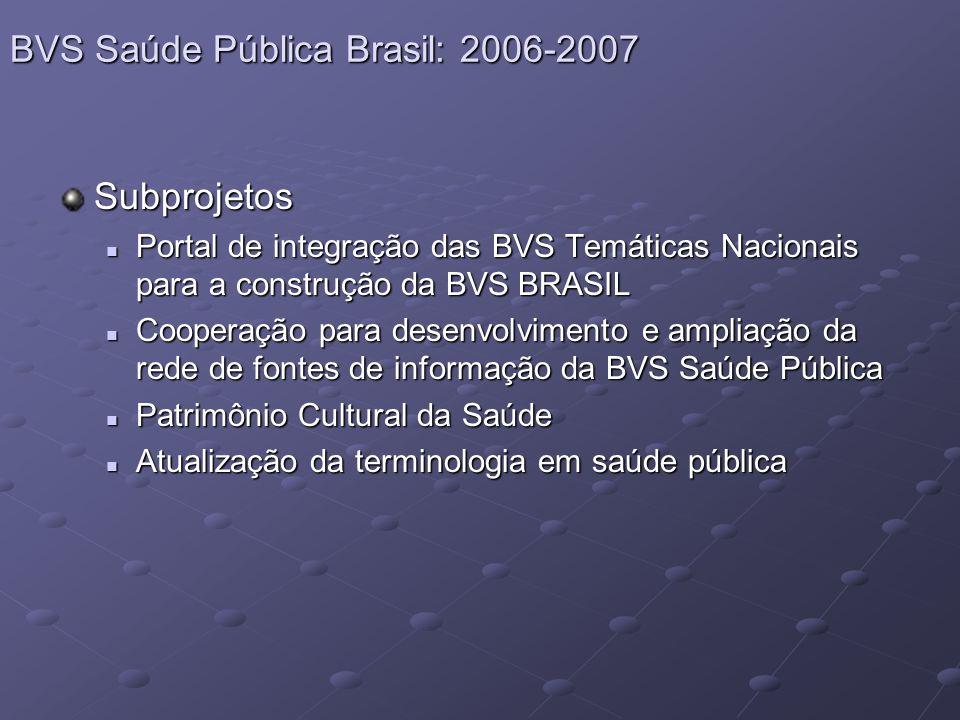 Subprojetos Portal de integração das BVS Temáticas Nacionais para a construção da BVS BRASIL Portal de integração das BVS Temáticas Nacionais para a construção da BVS BRASIL Cooperação para desenvolvimento e ampliação da rede de fontes de informação da BVS Saúde Pública Cooperação para desenvolvimento e ampliação da rede de fontes de informação da BVS Saúde Pública Patrimônio Cultural da Saúde Patrimônio Cultural da Saúde Atualização da terminologia em saúde pública Atualização da terminologia em saúde pública BVS Saúde Pública Brasil: 2006-2007