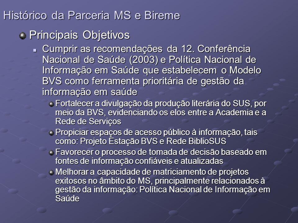 Principais Objetivos Cumprir as recomendações da 12. Conferência Nacional de Saúde (2003) e Política Nacional de Informação em Saúde que estabelecem o