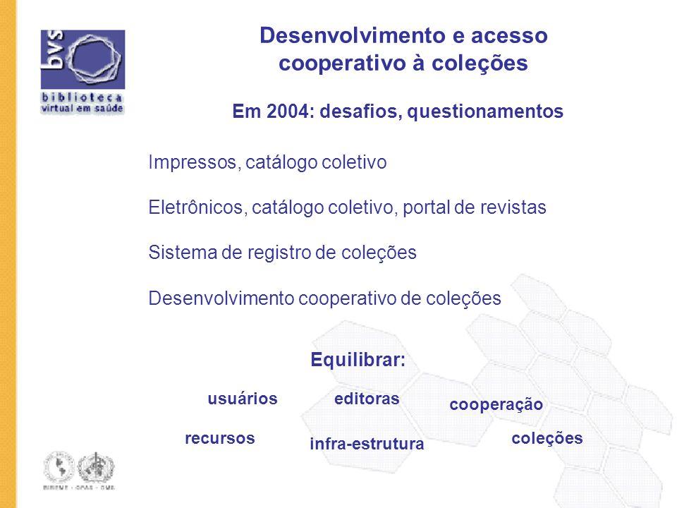 Desenvolvimento e acesso cooperativo à coleções Em 2004: desafios, questionamentos Impressos, catálogo coletivo Sistema de registro de coleções Desenv
