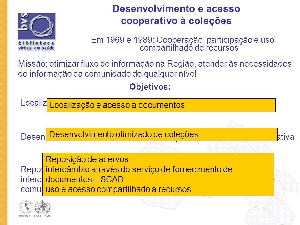 Desenvolvimento e acesso cooperativo à coleções Em 1969 e 1989: Cooperação, participação e uso compartilhado de recursos Missão: otimizar fluxo de inf