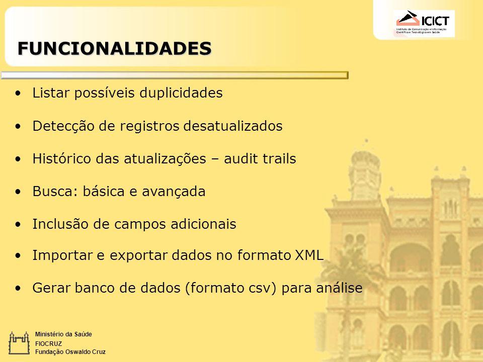 Ministério da Saúde FIOCRUZ Fundação Oswaldo CruzFUNCIONALIDADES Listar possíveis duplicidades Detecção de registros desatualizados Histórico das atua