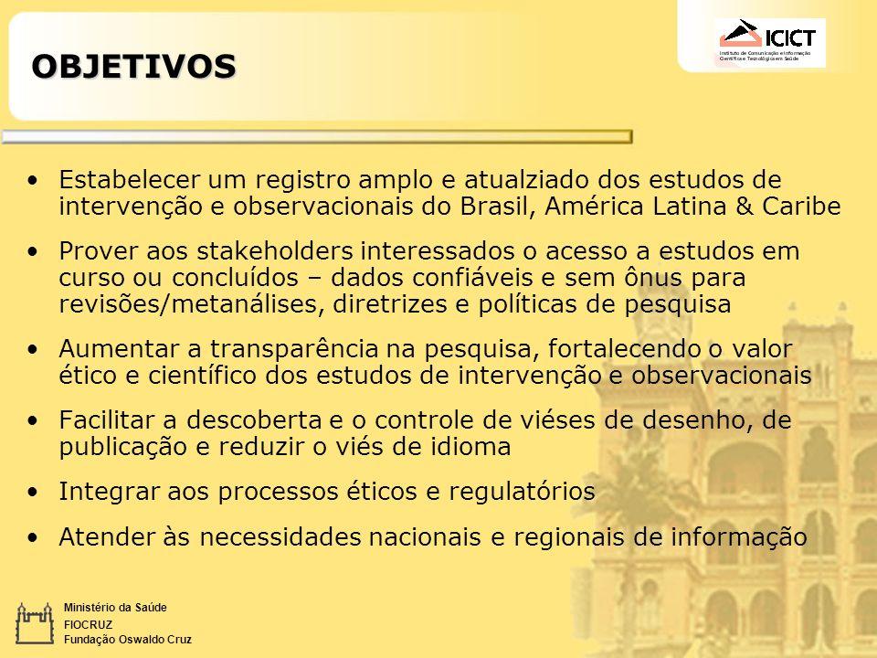 Ministério da Saúde FIOCRUZ Fundação Oswaldo CruzOBJETIVOS Estabelecer um registro amplo e atualziado dos estudos de intervenção e observacionais do B