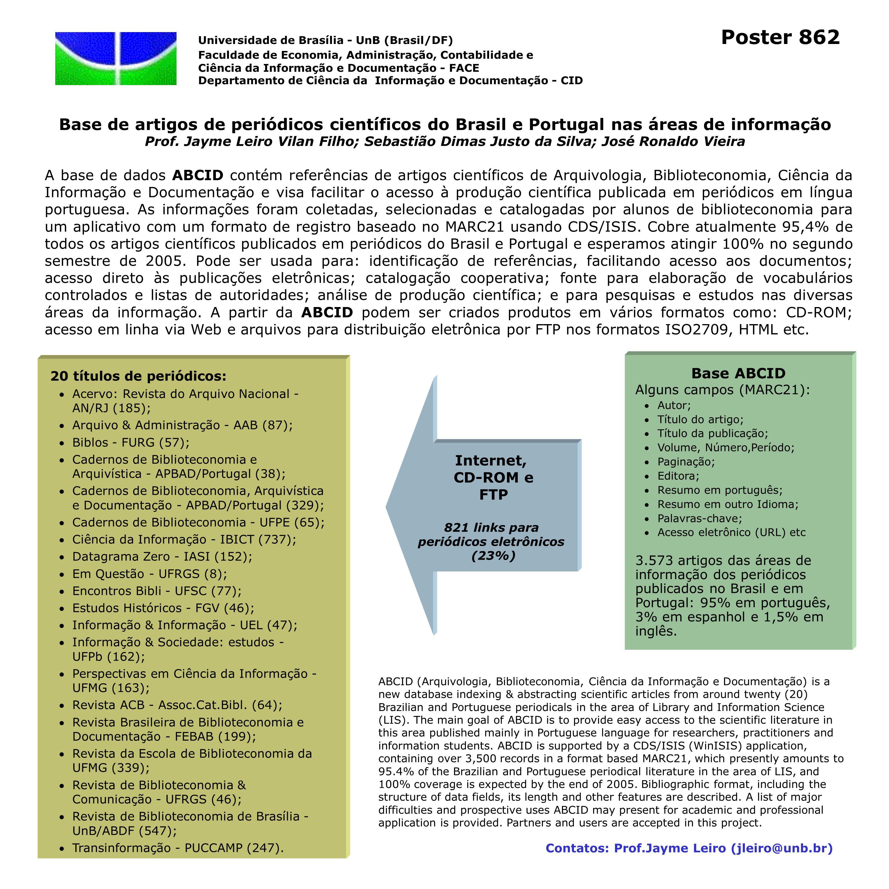 Base de artigos de periódicos científicos do Brasil e Portugal nas áreas de informação Prof. Jayme Leiro Vilan Filho; Sebastião Dimas Justo da Silva;