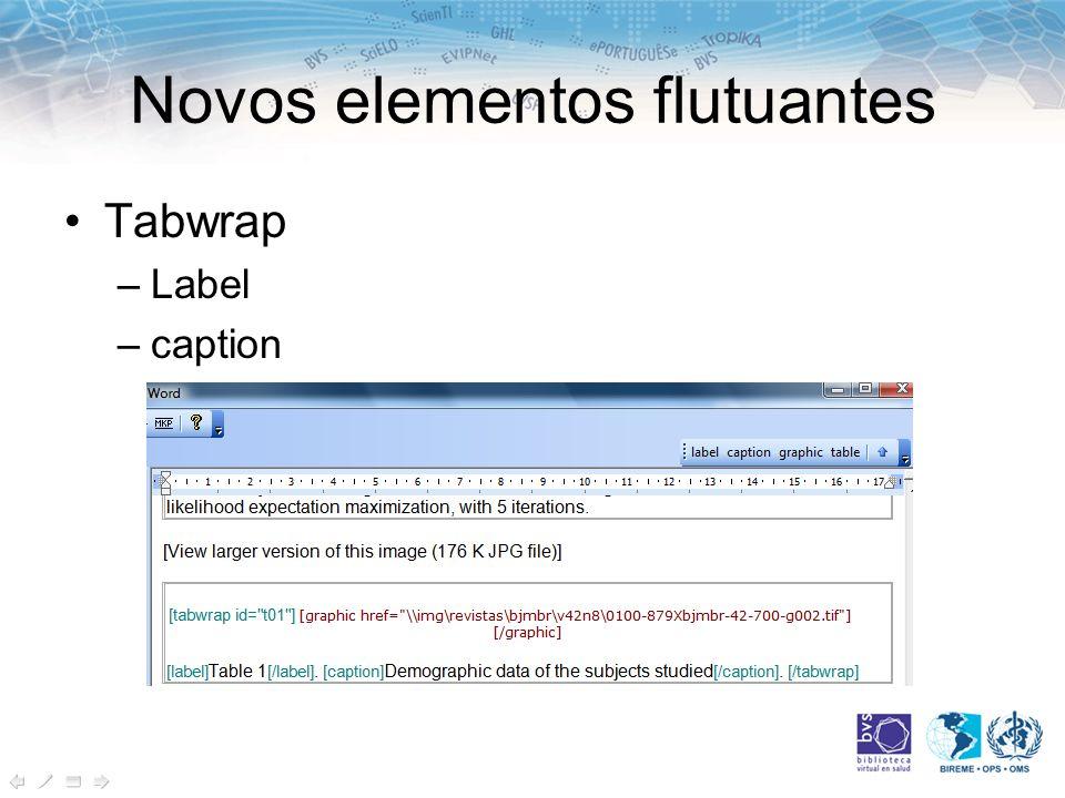 Novos elementos flutuantes Tabwrap –Label –caption
