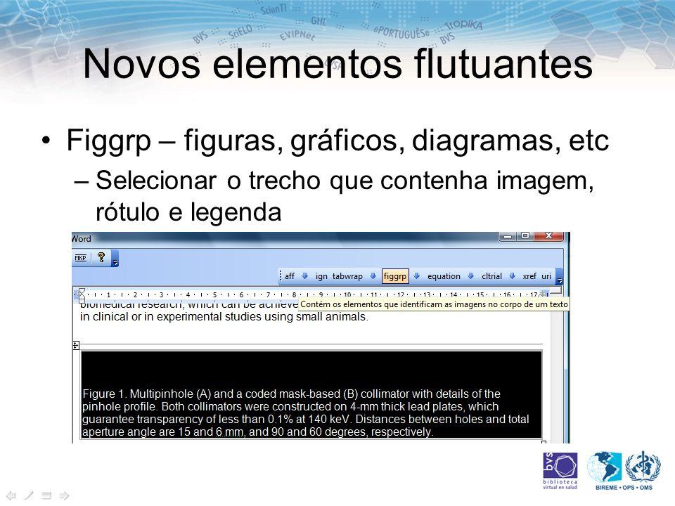 Novos elementos flutuantes Figgrp – figuras, gráficos, diagramas, etc –Selecionar o trecho que contenha imagem, rótulo e legenda