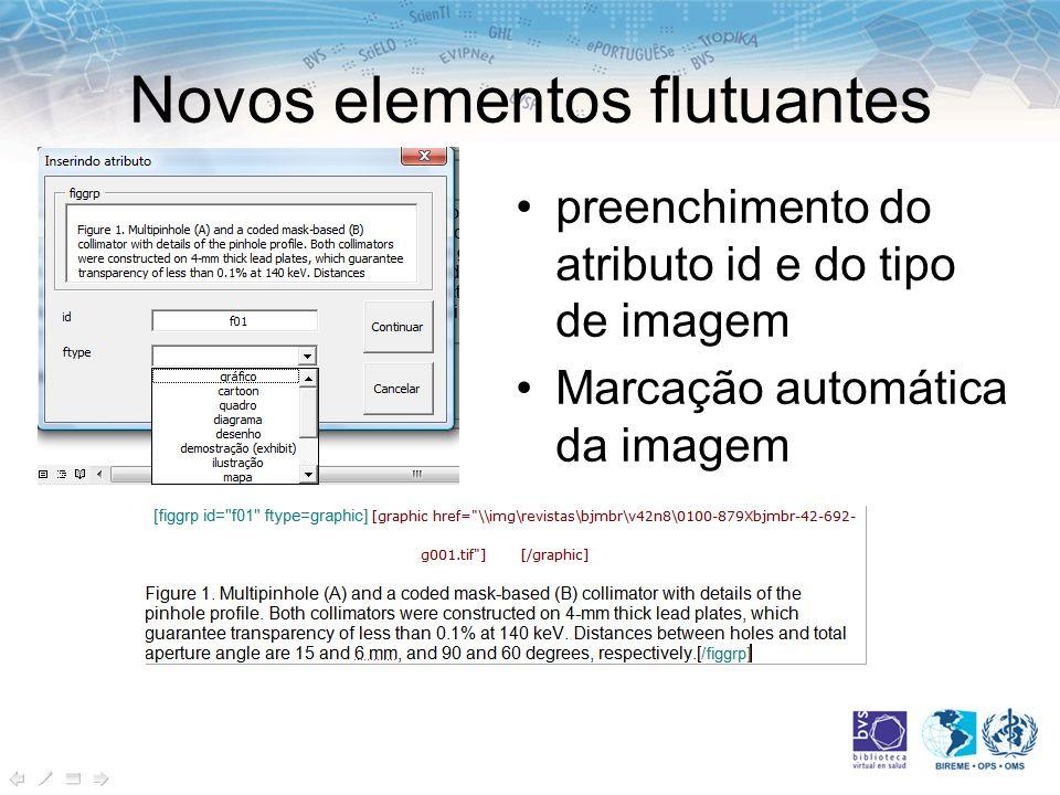 Novos elementos flutuantes preenchimento do atributo id e do tipo de imagem Marcação automática da imagem