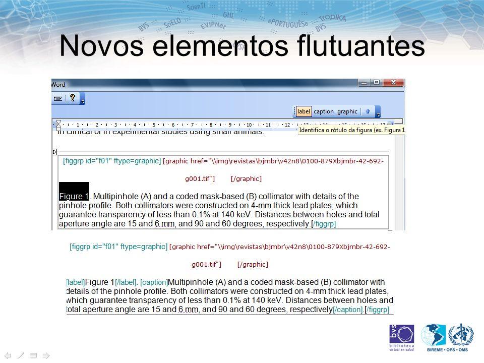 Novos elementos flutuantes