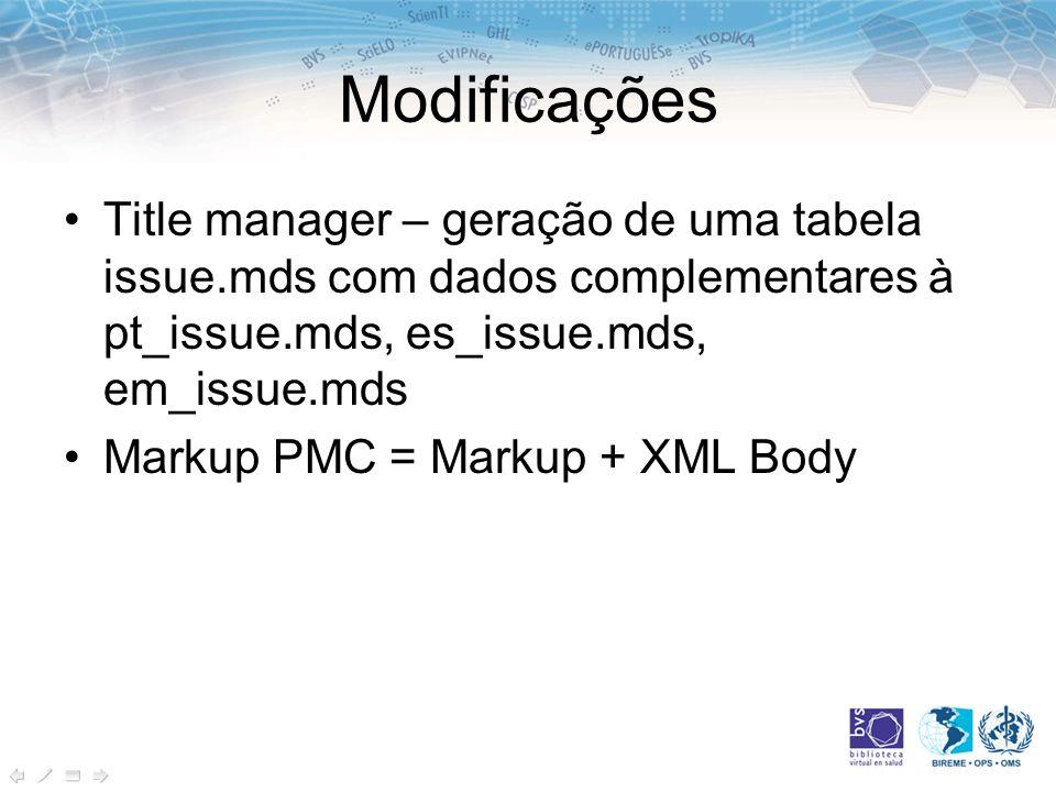 Modificações Title manager – geração de uma tabela issue.mds com dados complementares à pt_issue.mds, es_issue.mds, em_issue.mds Markup PMC = Markup +