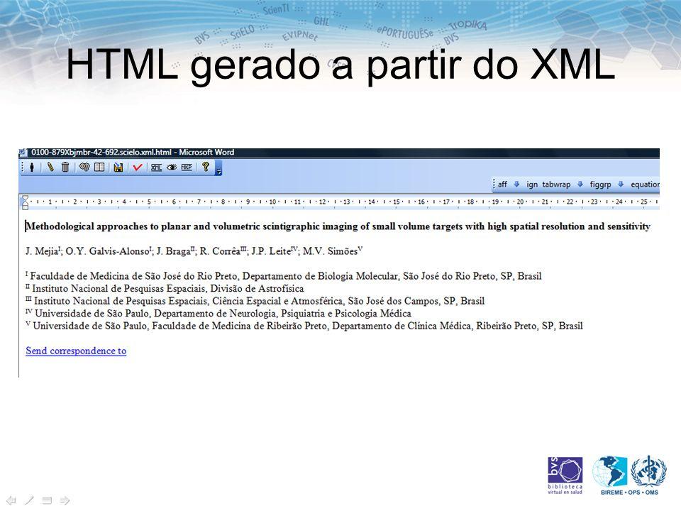 HTML gerado a partir do XML