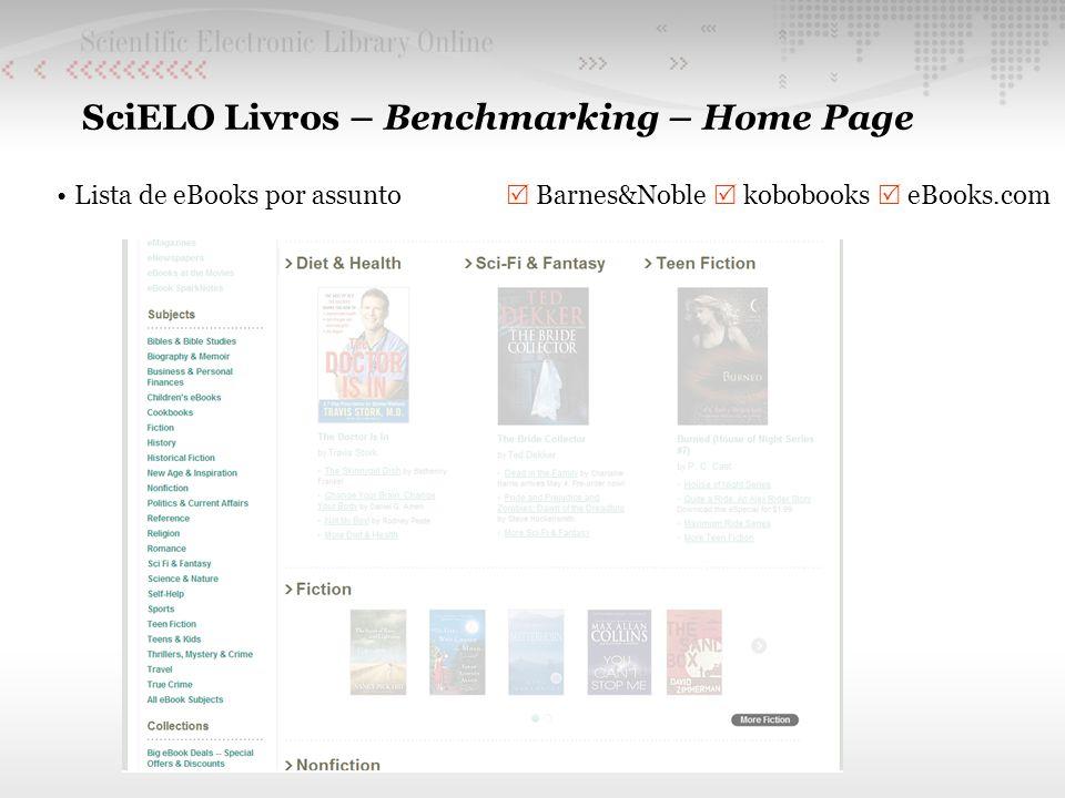 SciELO Livros – Benchmarking – Home Page Lista de eBooks por assunto Barnes&Noble kobobooks eBooks.com