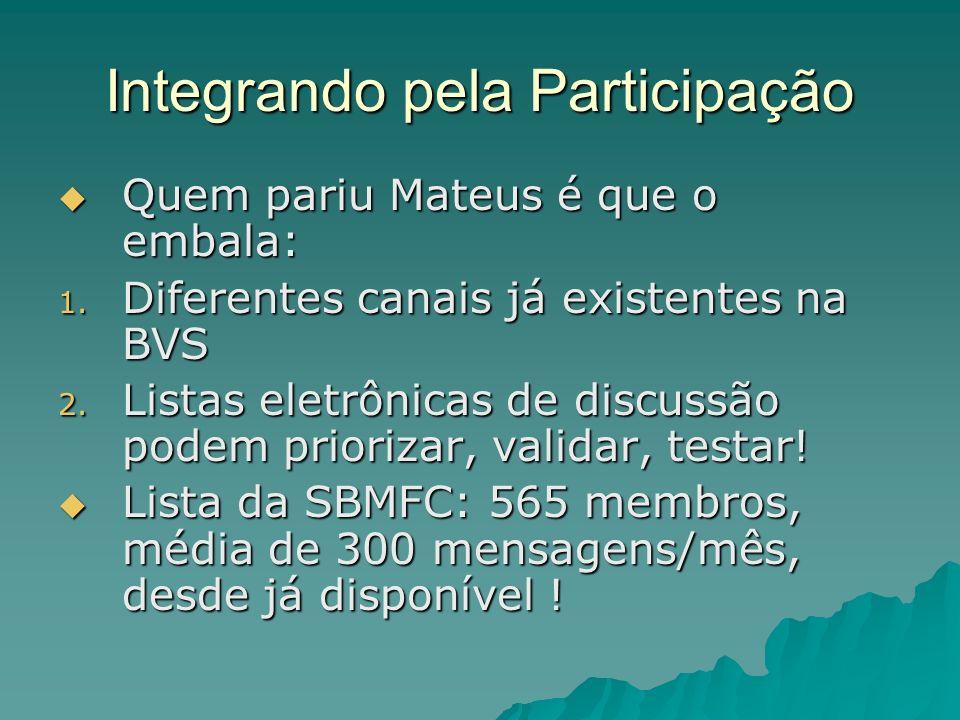 Integrando pela Participação Quem pariu Mateus é que o embala: Quem pariu Mateus é que o embala: 1. Diferentes canais já existentes na BVS 2. Listas e