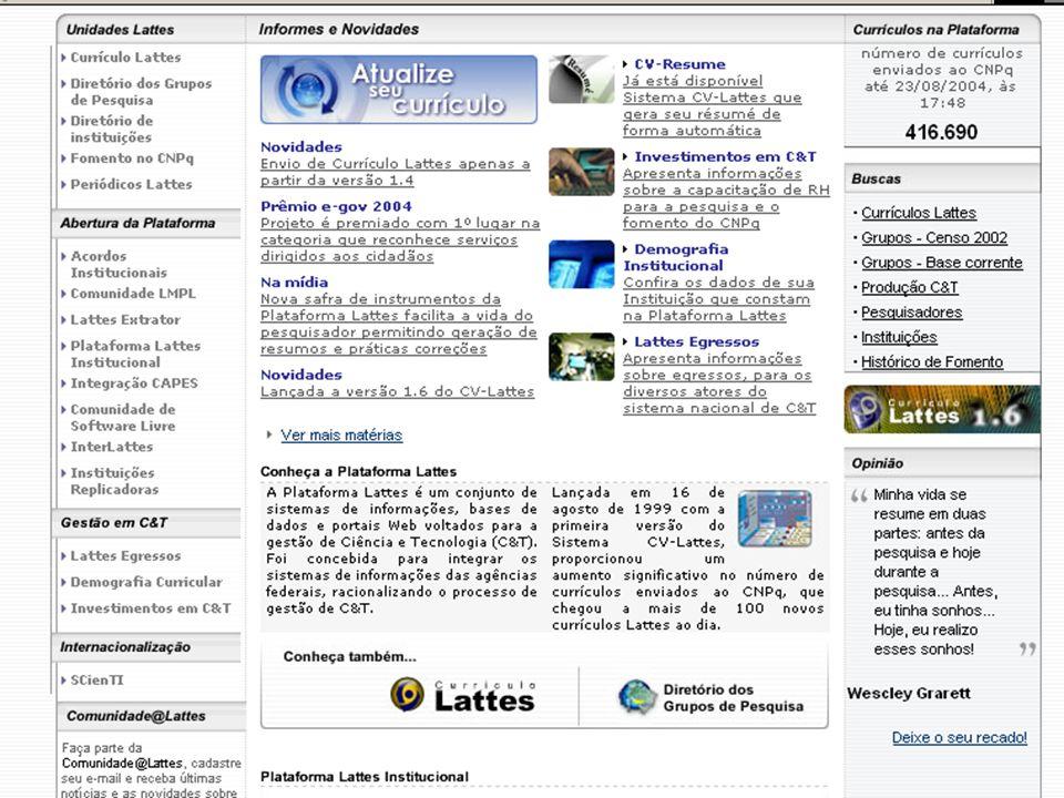 Prioridades do CV Lattes Validação dos dados Dados da produção científica.