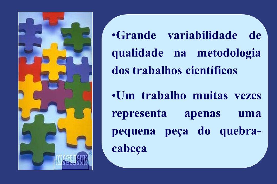 Grande variabilidade de qualidade na metodologia dos trabalhos científicos Um trabalho muitas vezes representa apenas uma pequena peça do quebra- cabeça