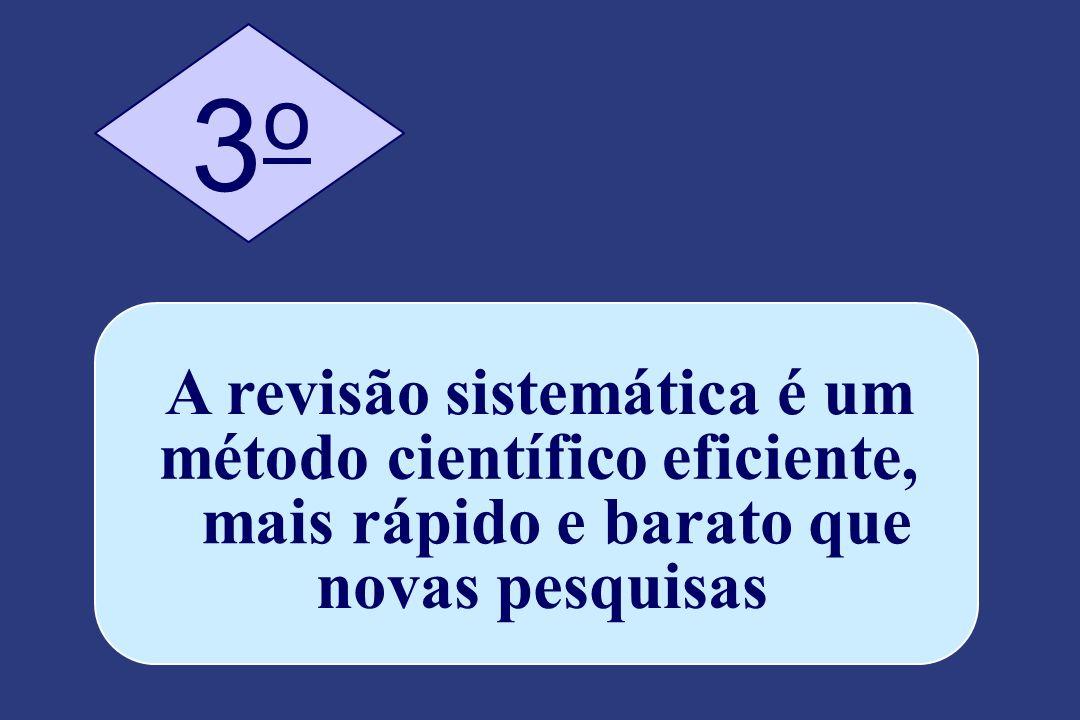 A revisão sistemática é um método científico eficiente, mais rápido e barato que novas pesquisas 3 o