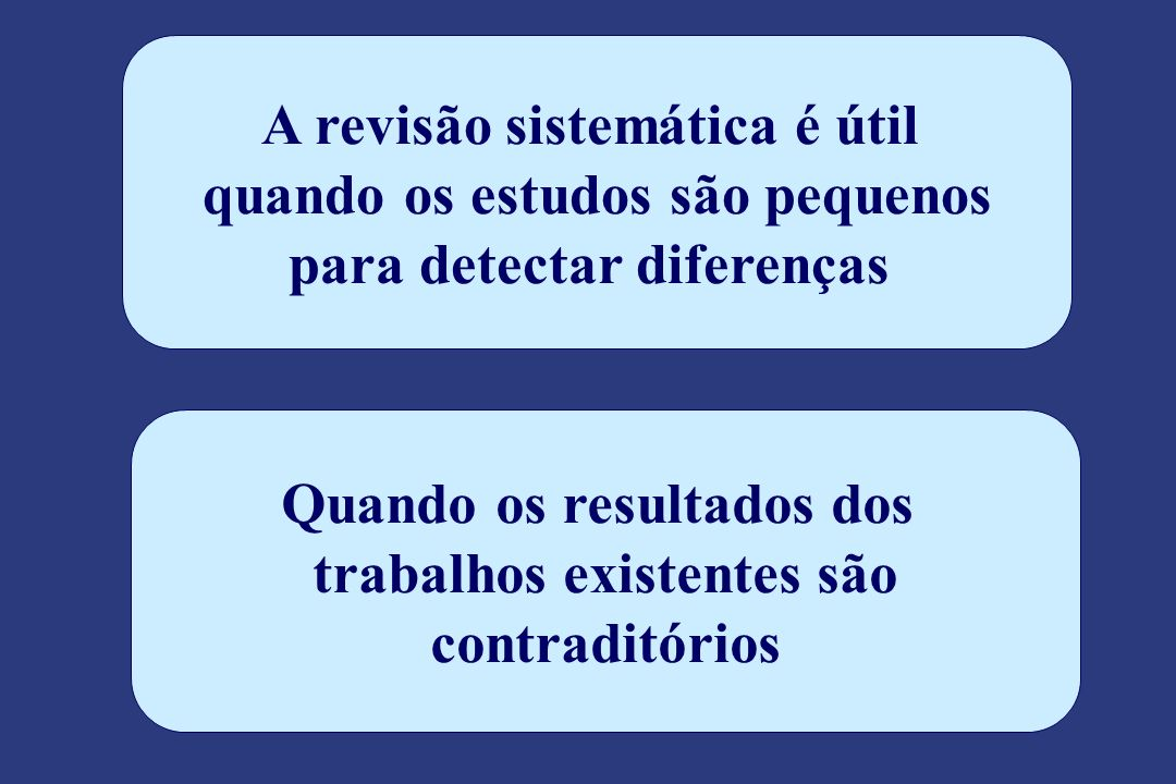 A revisão sistemática é útil quando os estudos são pequenos para detectar diferenças Quando os resultados dos trabalhos existentes são contraditórios
