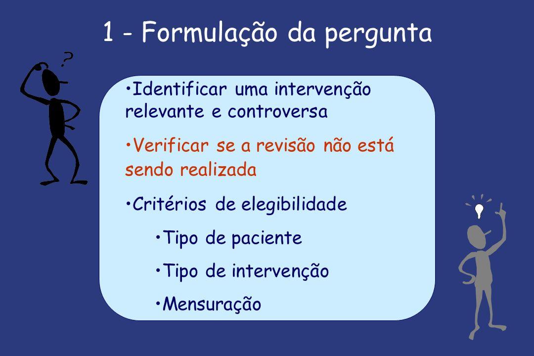 1 - Formulação da pergunta Identificar uma intervenção relevante e controversa Verificar se a revisão não está sendo realizada Critérios de elegibilidade Tipo de paciente Tipo de intervenção Mensuração