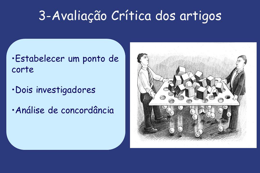 3-Avaliação Crítica dos artigos Estabelecer um ponto de corte Dois investigadores Análise de concordância